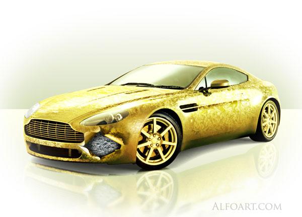 golden cover aston martin vantage beauty design gold. Black Bedroom Furniture Sets. Home Design Ideas