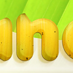 Banana style text effect. Free PSD file