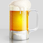 Cold Beer Glass Illustration. Foam texture and dewy glass effect plus icons set