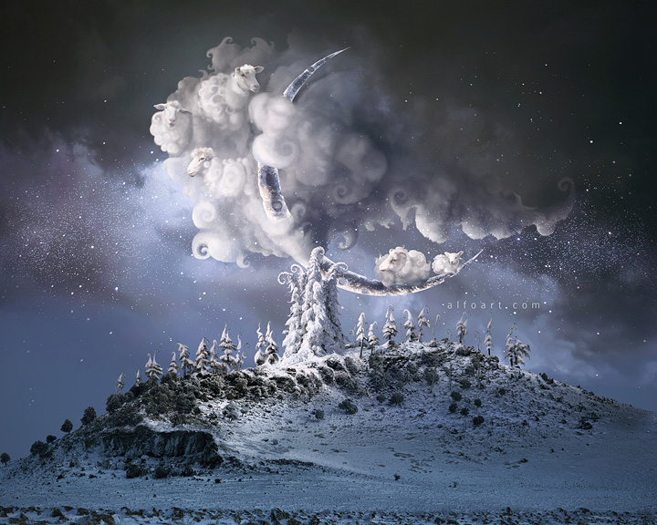 Christmas Dream. Fairy night with the crescent above the sheep clouds. Moon craters 3D model. Fairy Christmas snow and icy landscape. Counting sheep photo manipulation.