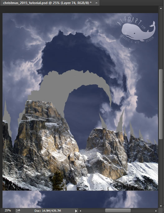 Christmas Gifts Mountain. Fairy night with the crescent above the clouds. Moon or crescent 3D model