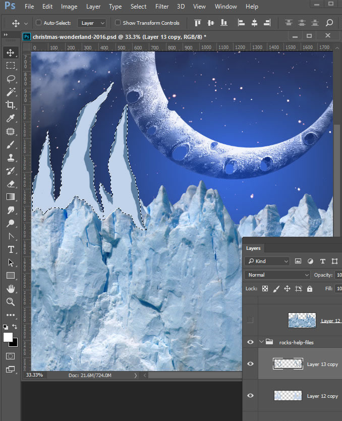 Christmas Wonderland. Fairy night with the crescent above the clouds. Moon or crescent 3D model