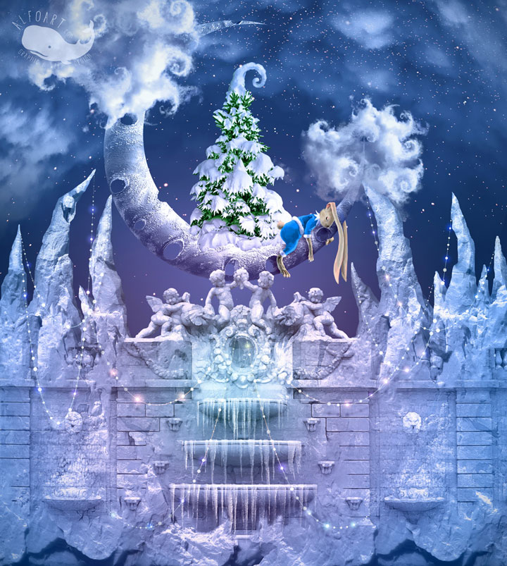 Christmas Wonderland.. Fairy night with the crescent above the clouds. Moon craters 3D model. Fairy Christmas snoe and icy landscape.