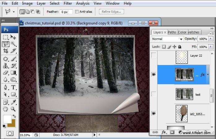 Học 1%20%2823%29 Tạo Cảnh Rừng Thông Noel Thật Tráng Lệ trong Photoshop