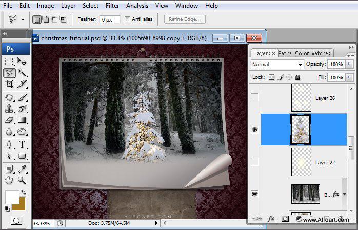 Học 1%20%2826%29 Tạo Cảnh Rừng Thông Noel Thật Tráng Lệ trong Photoshop
