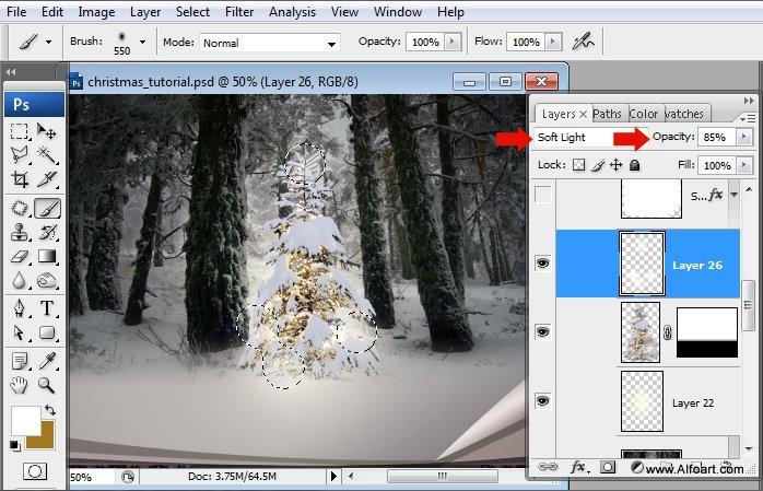 Học 1%20%2830%29 Tạo Cảnh Rừng Thông Noel Thật Tráng Lệ trong Photoshop