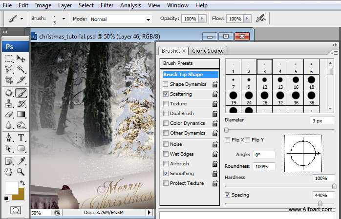 Học 1%20%2849%29 Tạo Cảnh Rừng Thông Noel Thật Tráng Lệ trong Photoshop
