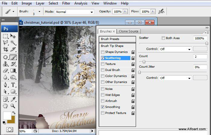Học 1%20%2851%29 Tạo Cảnh Rừng Thông Noel Thật Tráng Lệ trong Photoshop