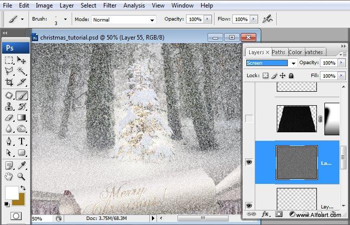Học 1%20%2855%29 Tạo Cảnh Rừng Thông Noel Thật Tráng Lệ trong Photoshop