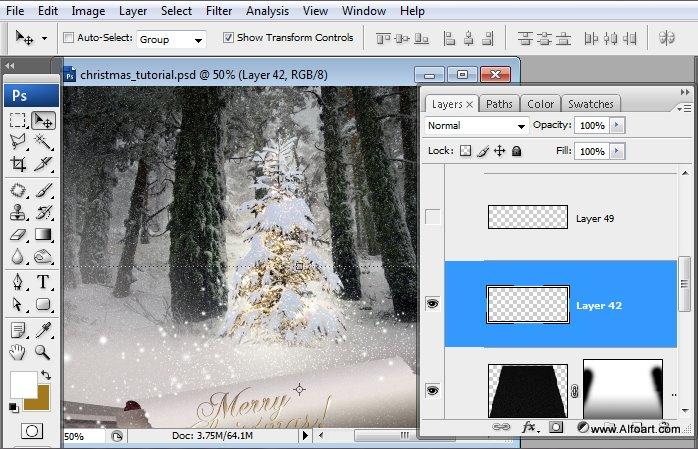 Học 1%20%2859%29 Tạo Cảnh Rừng Thông Noel Thật Tráng Lệ trong Photoshop