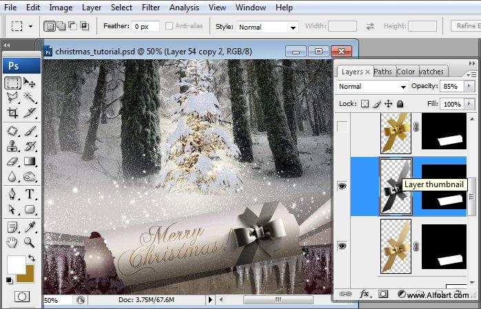 Học 1%20%2866%29 Tạo Cảnh Rừng Thông Noel Thật Tráng Lệ trong Photoshop