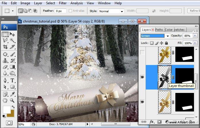 Học 1%20%2867%29 Tạo Cảnh Rừng Thông Noel Thật Tráng Lệ trong Photoshop