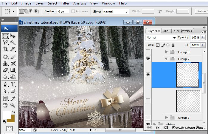 Học 1%20%2868%29 Tạo Cảnh Rừng Thông Noel Thật Tráng Lệ trong Photoshop