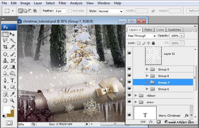 Học 1%20%2875%29 Tạo Cảnh Rừng Thông Noel Thật Tráng Lệ trong Photoshop