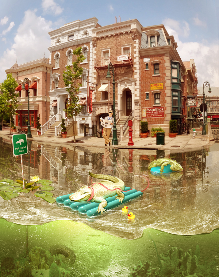 Surreal Comic Scene with Reptiles. Crocodile Promenade. 3D pool float model. Man walking with the crocodile.