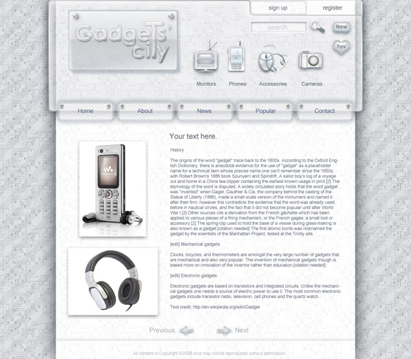 Design for gadgets web site. Gadgets City.