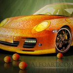 Orange Porsche. Fruit Skin