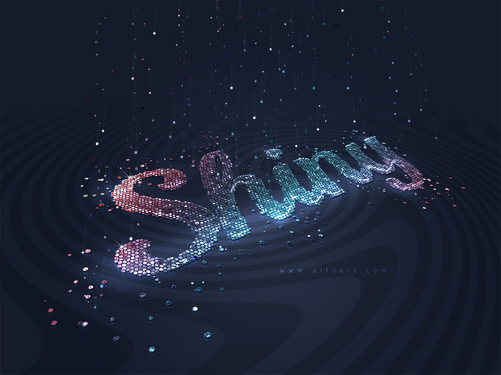 Very Shiny Glitter Text Effect. How to create 3D style sign