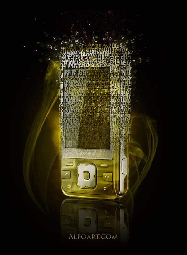 Cocept design, Golden cell phone fragmented into words and sounds.