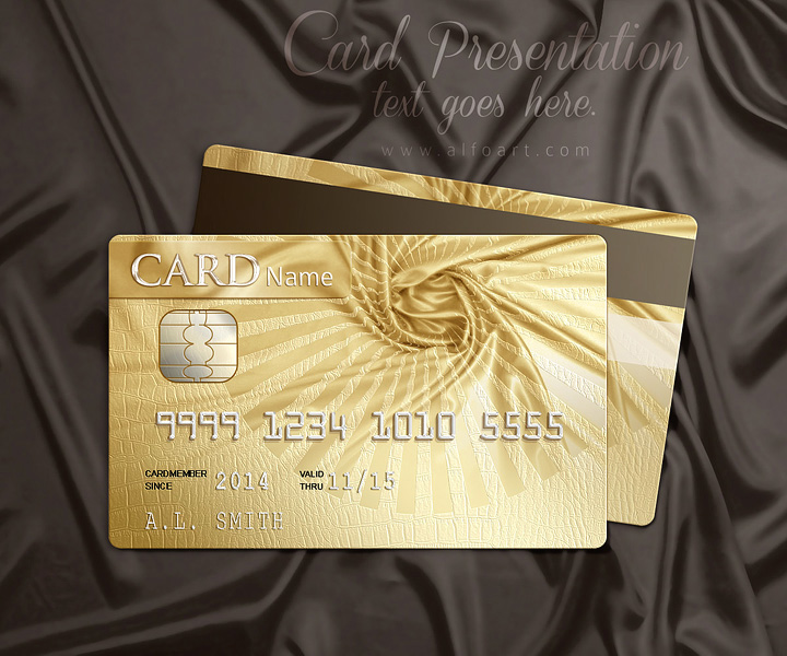 Golden style design for the credit, loyalty or membership card Photoshop tutorial and template.