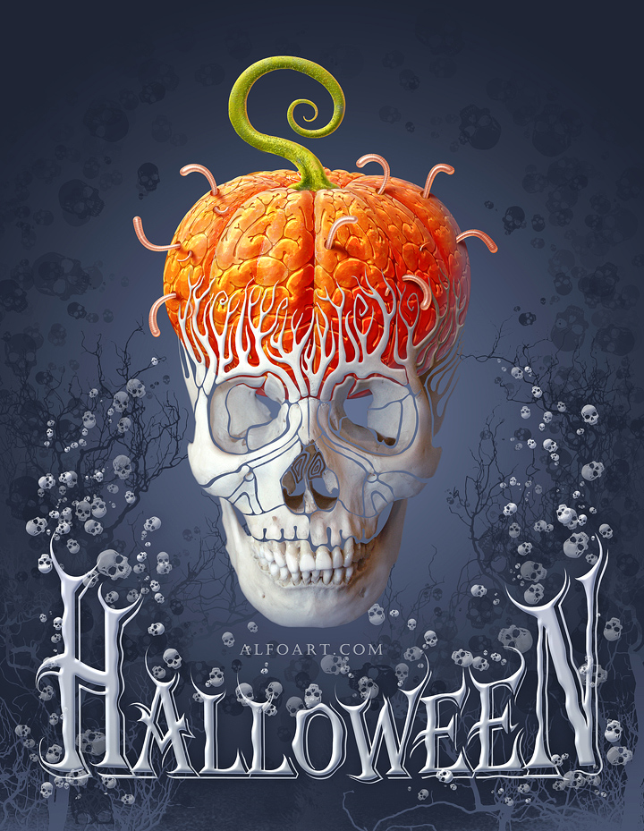 Halloween Card. How to create creepy skull with the pumpkin brains effect with photoshop. Free skull brushes and card elements.