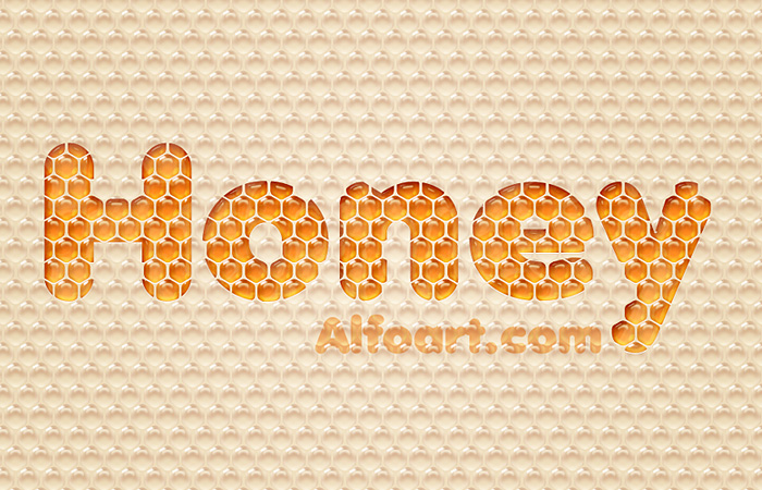 Awesome digital Honey bubbles text effect, honey texture, Honeycomb, glossy drops, Honey Bee, Honeycomb, Freshness, Yellow, orange bubbles in Photoshop