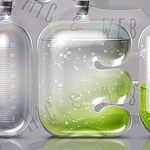 Laboratory Glassware Letters. Realistic glass text effect.