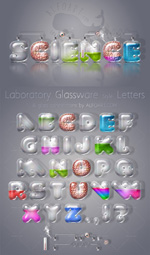 Laboratory Glassware Letters Realistic glass text effect