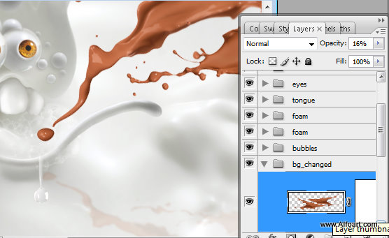 milk and chocolate, photoshop, splashes, monster, eyesballs, bubbles, cartoon character, cute, drops, hot chocolate, liquid