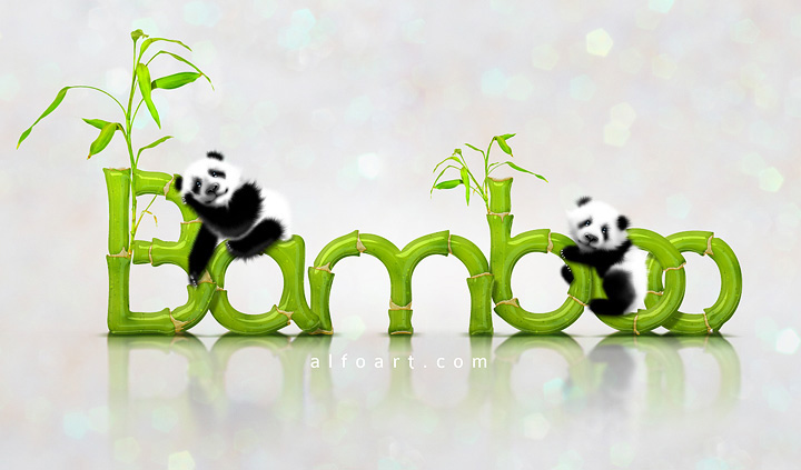 In this Photoshop tutorial  learn how to create cute baby panda illustration and realistic Bamboo Text Effect