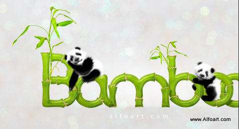 Cute baby panda & Bamboo text effect Pandas and realistic fresh and green bamboo plant illustration