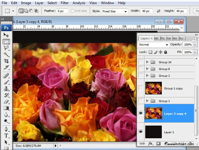 Beautiful digital Roses bouquet splash effect in Photoshop