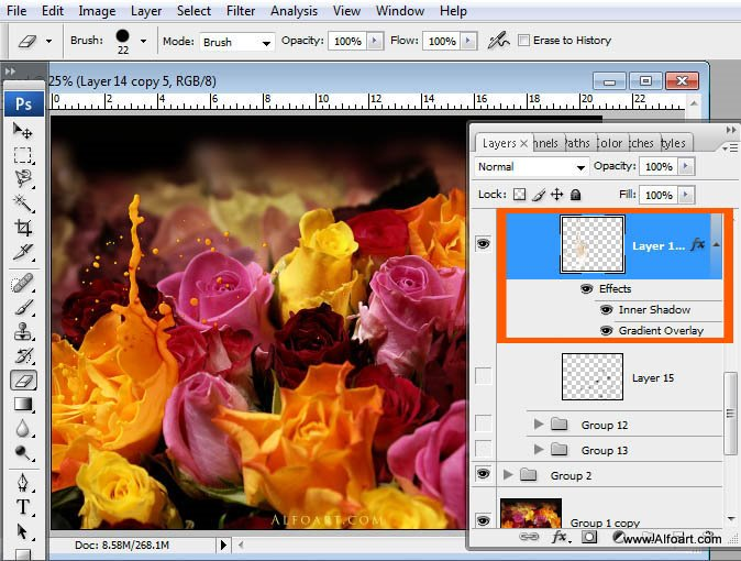 Awesome digital Roses bouquet splash effect in Photoshop