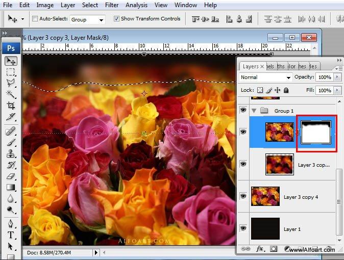 Beautiful digital Roses bouquet splash effect in Photoshop