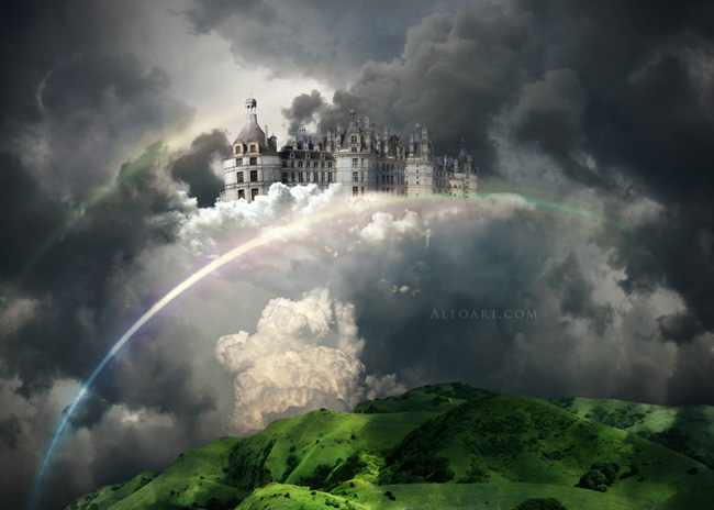 Castle in the Sky, castle in the clouds, dreamy landscape, mysterious, illustration, fantastic, rainbow effect in photoshop