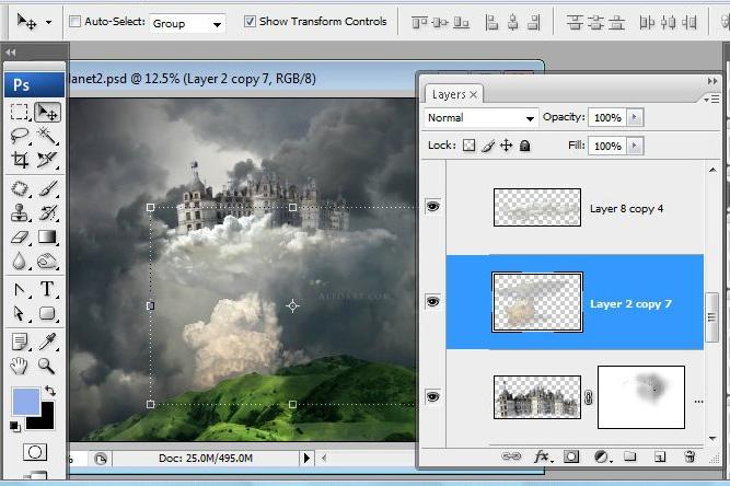Học 1%20%2843%29 Xây Dựng Tòa Lâu Đài trên Mây trong Photoshop