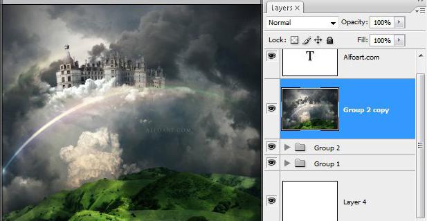 Học 1 Xây Dựng Tòa Lâu Đài trên Mây trong Photoshop