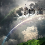 Castle in the Sky. The easy way to create beautiful photo manipulation with green landscape, dramatic sky, rainbow and castle in the white clouds.