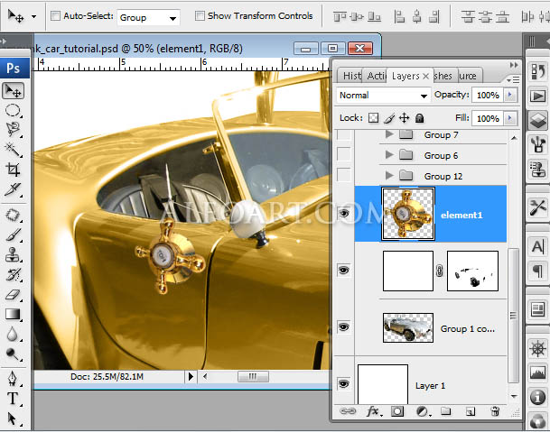 steampunk golden car digital illustration