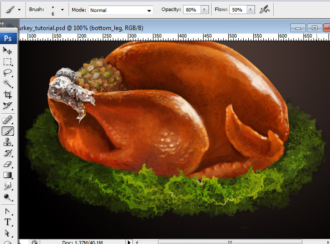 Awesome digital Roasted Thanksgiving turkey illustration in Photoshop