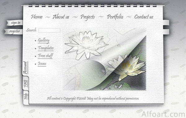 WHITE Notebook STYLE for web site design
